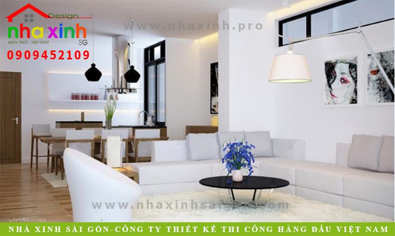 Thiết kế phòng khách căn nhà phố 3 tầng