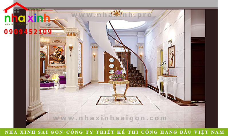 Phòng khách biệt thự cổ điển Anh Hòa