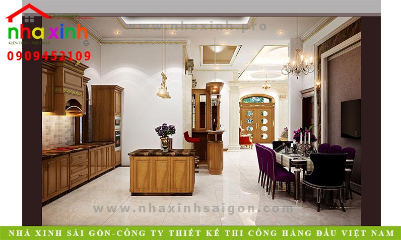 Phòng bếp biệt thự cổ điển Anh Hòa