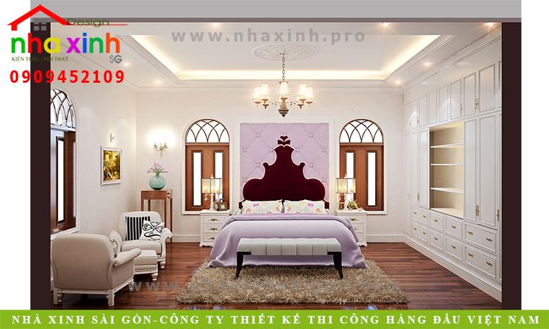 Phòng ngủ biệt thự cổ điển Anh Hòa