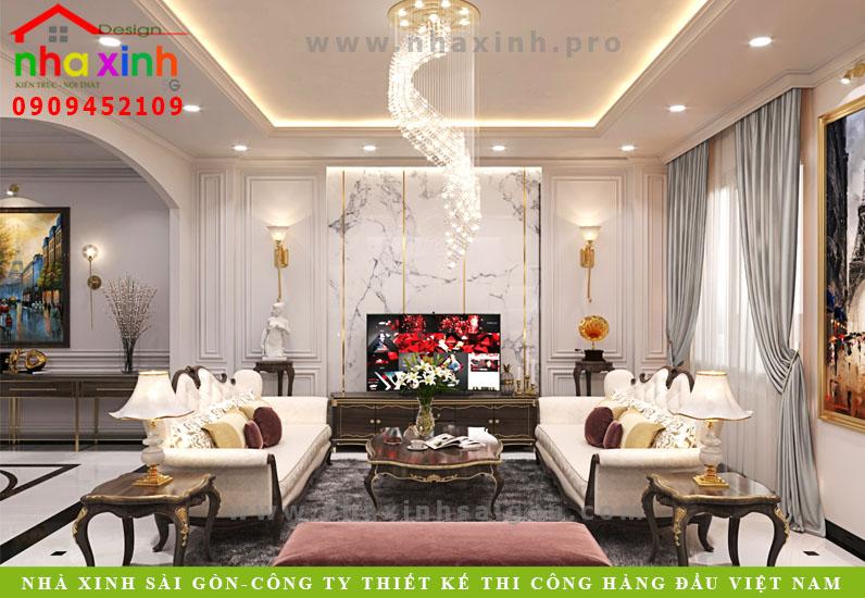 Phòng khách biệt thự tân cổ điển phong cách Châu Âu | Anh Tân. Ảnh 1