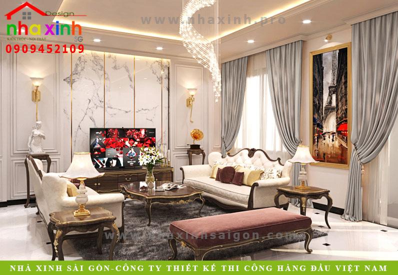 Phòng khách biệt thự tân cổ điển phong cách Châu Âu | Anh Tân. Ảnh 2