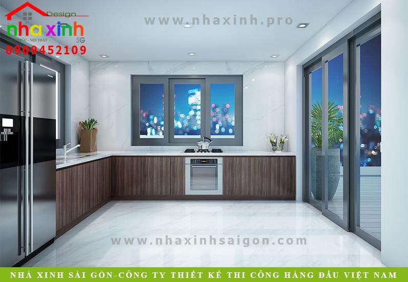 Thiết kế phòng bếp sân thượng biệt thự 3 tầng