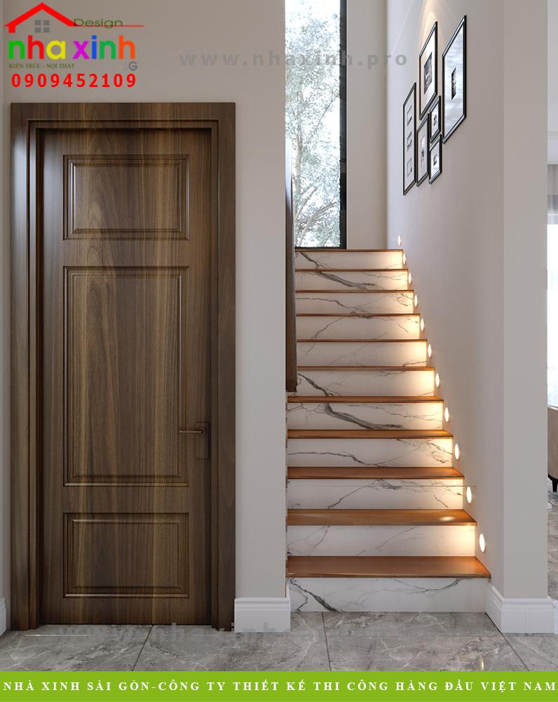 Thiết kế cầu thang biệt thự 3 tầng mái bằng