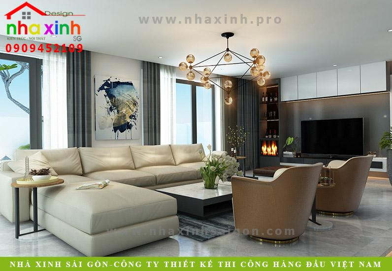 Thiết kế nội thất phòng khách biệt thự 3 tầng