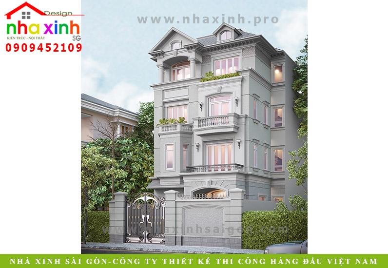 Mẫu Biệt Thự Tân Cổ Điển 4 Tầng | Anh Chung