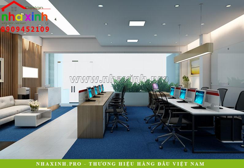 Thiết kế nội thất tầng trệt nhà phố văn phòng