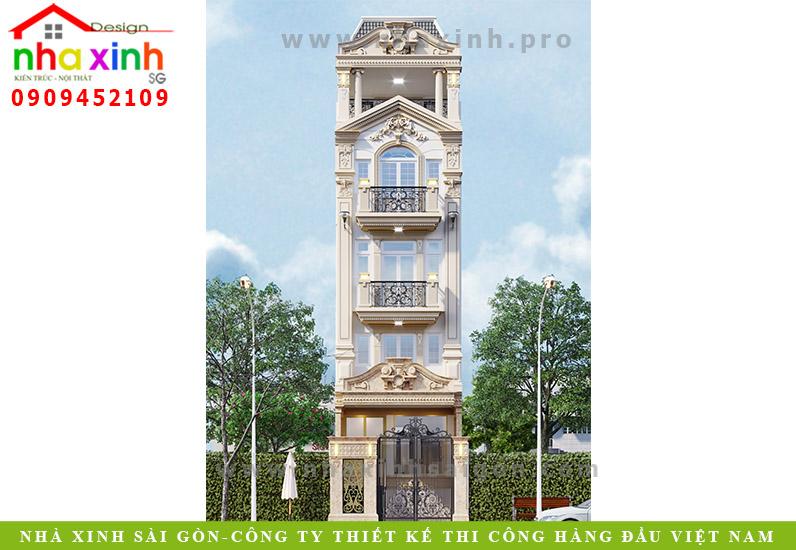 Mẫu Nhà Phố Cổ Điển 5 Tầng Đẹp | Anh Long | NP-169