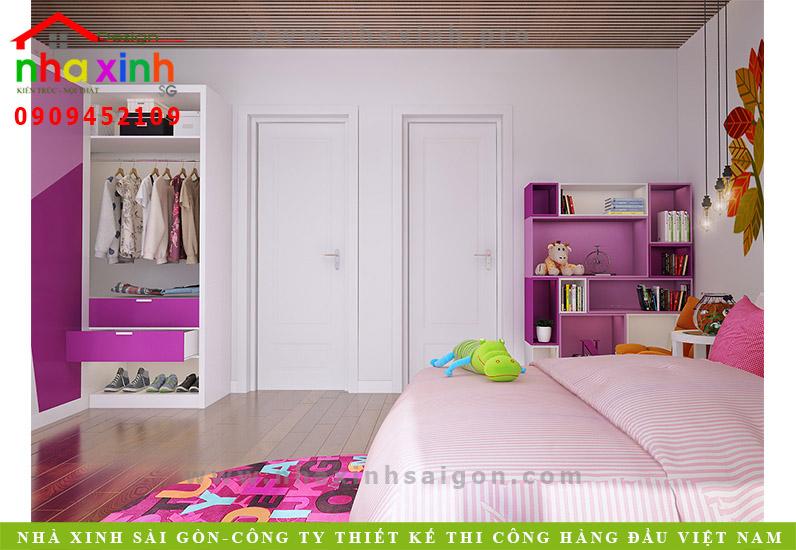 Thiết kế nội thất phong ngủ con gái nhà phố