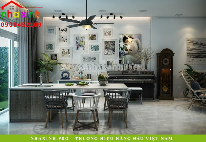Nhà Phố Đẹp Lô 4 Tầng thiết kế phòng bếp