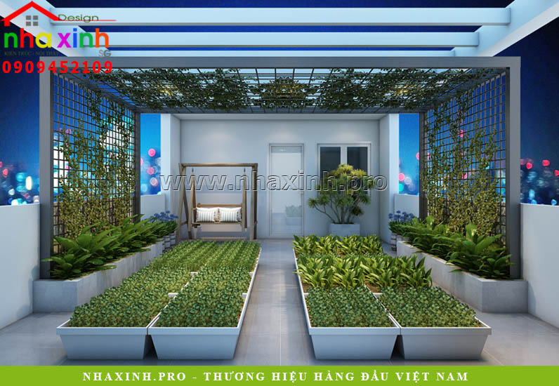 Nhà Phố Đẹp Lô 4 Tầng thiết kế sân vườn
