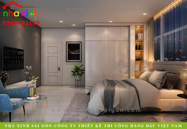 Nội thất phòng ngủ khách biệt thự hiện đại 2 mặt tiền