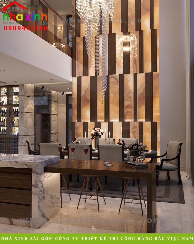 Thiết kế phòng ăn biệt thự 4 tầng