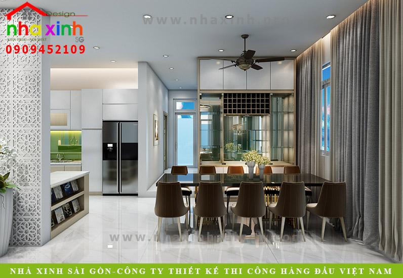 Thiết kế phòng bếp của căn biệt thự vườn 2 tầng