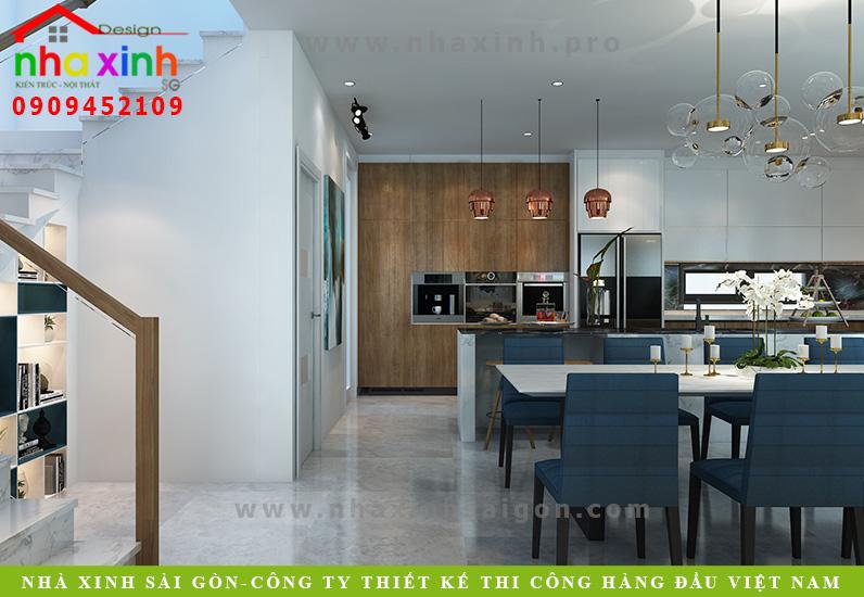 Phòng bếp biệt thự 3 tầng hiện đại  Chị Phương. Ảnh 2