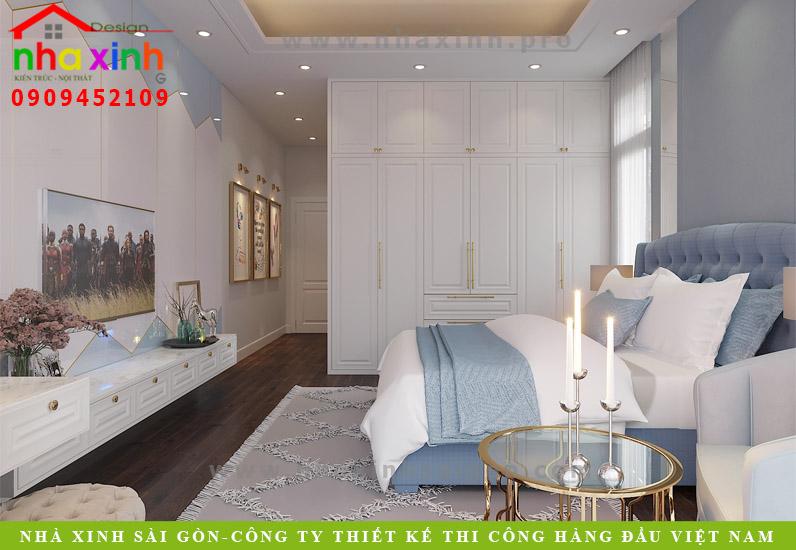 Phòng ngủ của căn biệt thự mái bằng