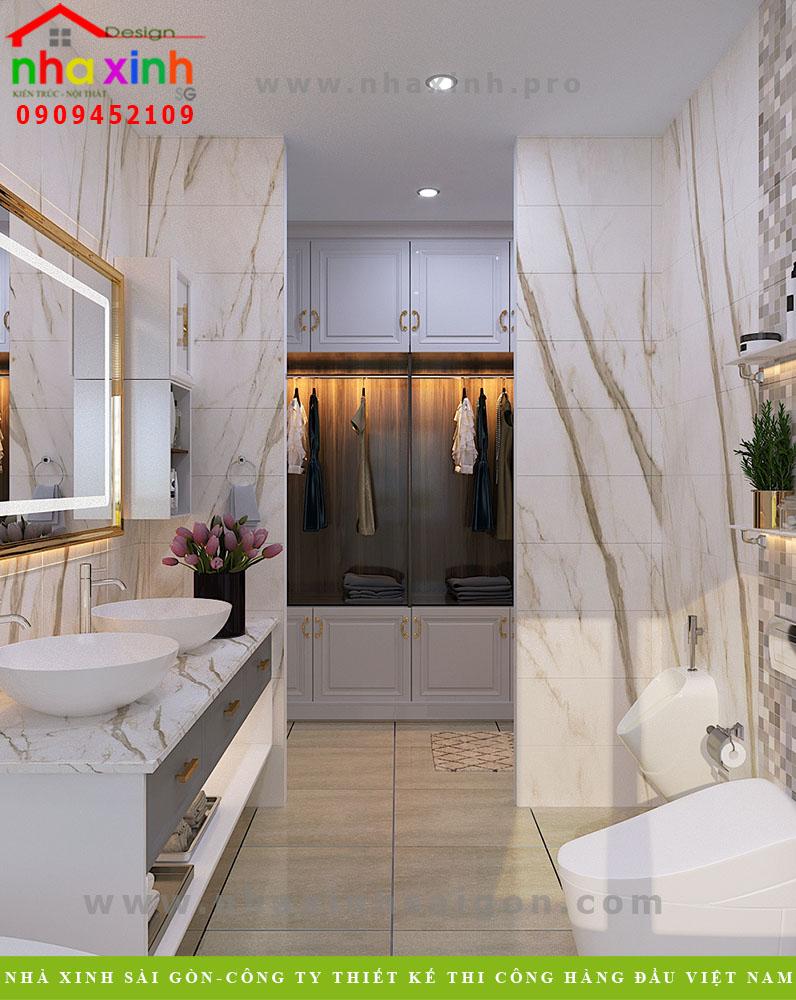 Thiết kế phòng thay đồ và phòng vệ sinh cho căn biệt thự