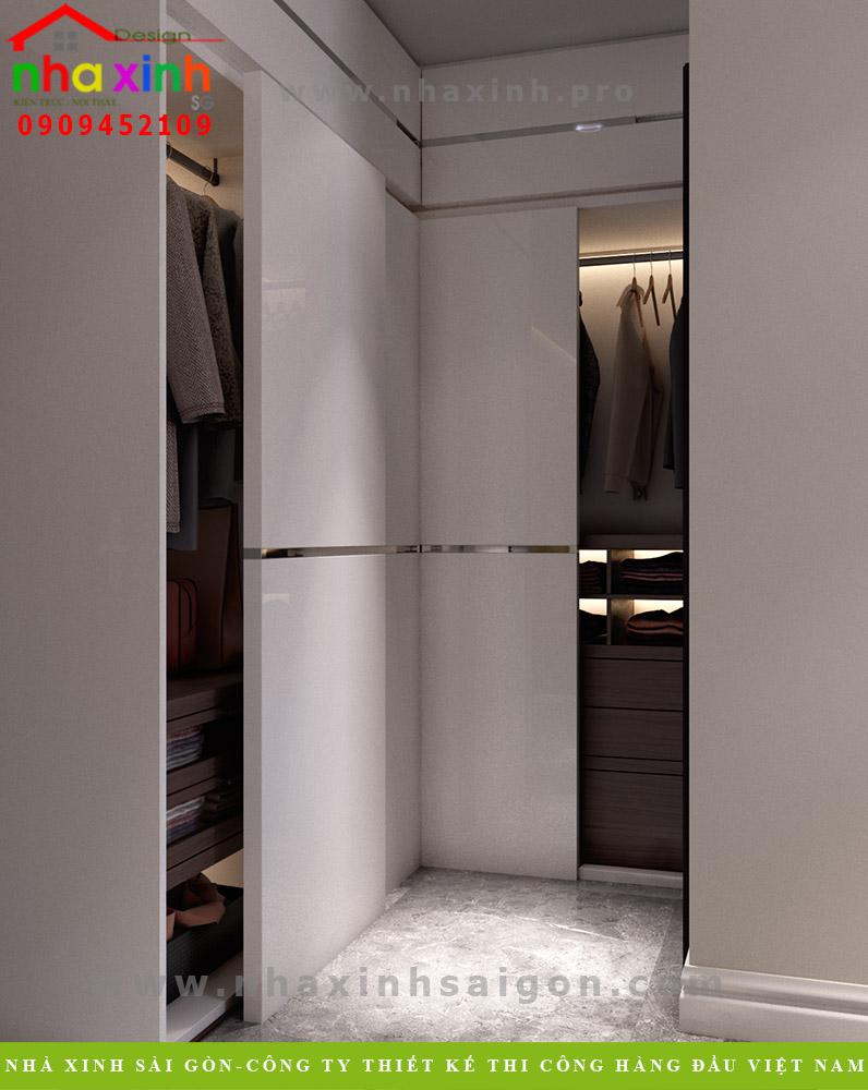 Thiết kế phòng thay đồ biệt thự 3 tầng