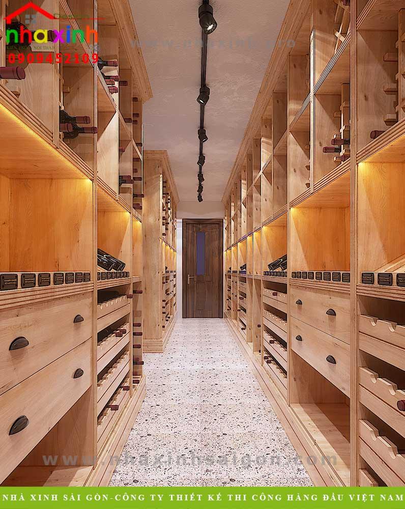 Thiết kế phòng rượu biệt thự 4 tầng