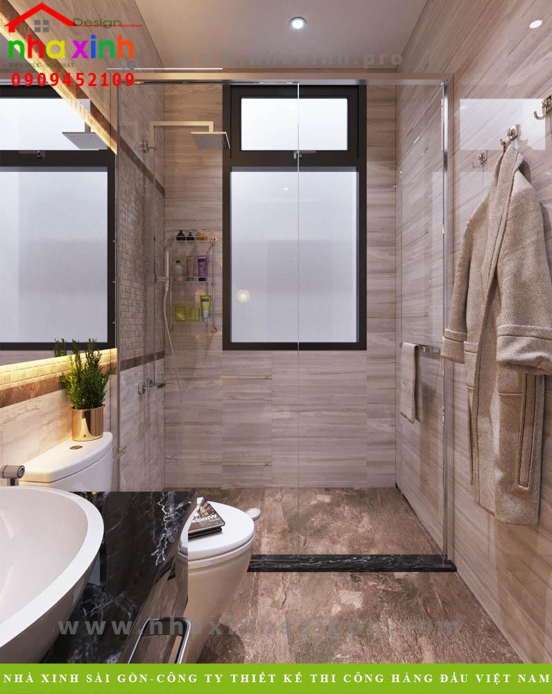 Thiết kế phòng tắm biệt thự phố 3 tầng