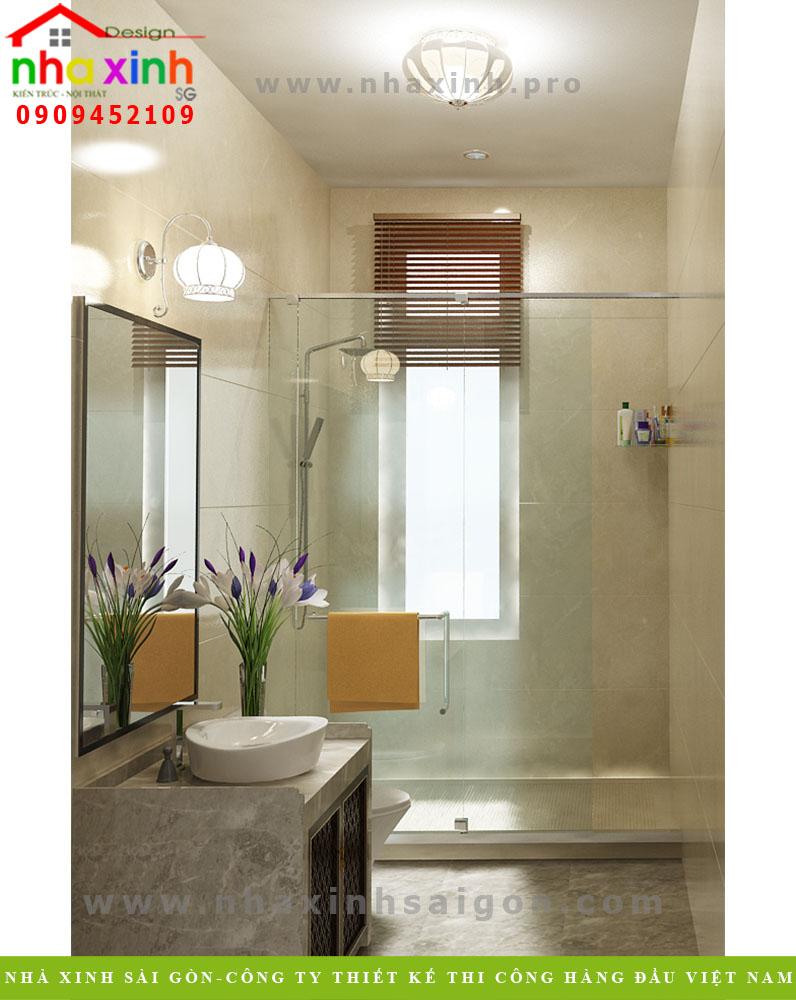 Thiết kế nội thất phòng tắm biệt thự tân cổ điển ông mạnh