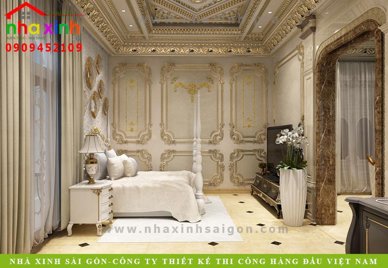 Nội thất phòng ngủ của căn biệt thự cổ điển