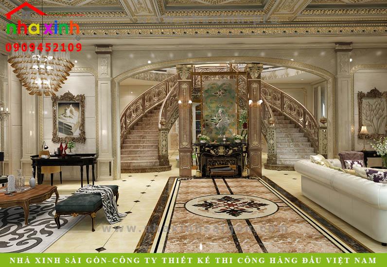 Nội thất phòng khách của căn biệt thự cổ điển