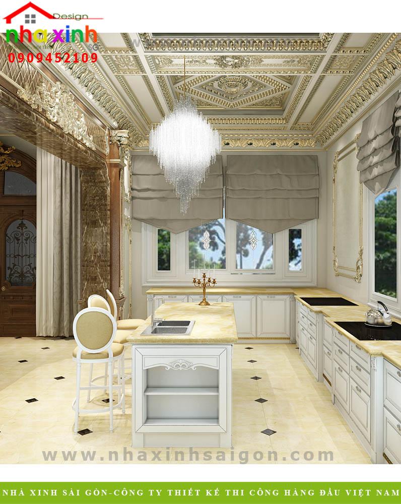 Nội thất phòng bếp của căn biệt thự cổ điển