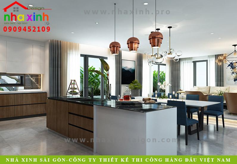 Thiết kế nội thất phòng bếp biệt thự 3 tầng