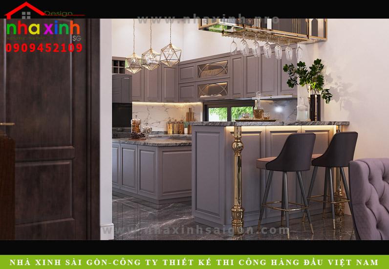 Thiết kế nội thất phòng bếp biệt thự