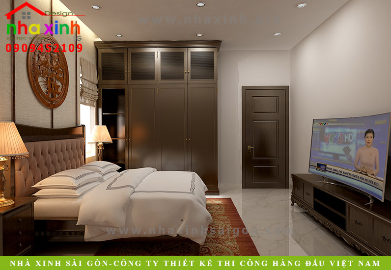 Thiết kế nội thất phòng ngủ biệt thự tân cổ điển ông mạnh