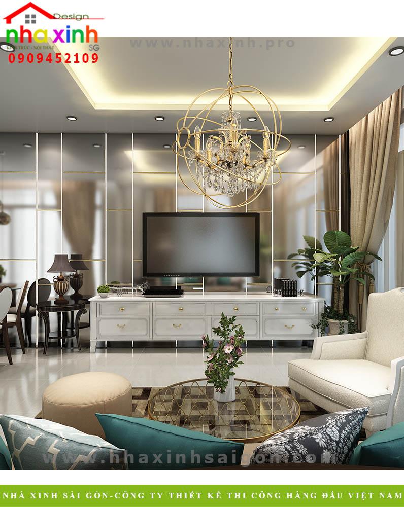Thiết kế nội thất phòng khách nhà phố 5 tầng