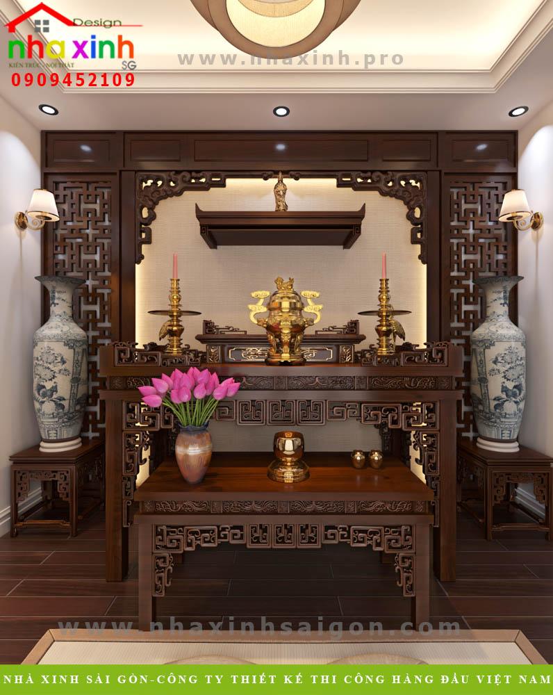 Thiết kế phòng thờ biệt thự tân cổ điển