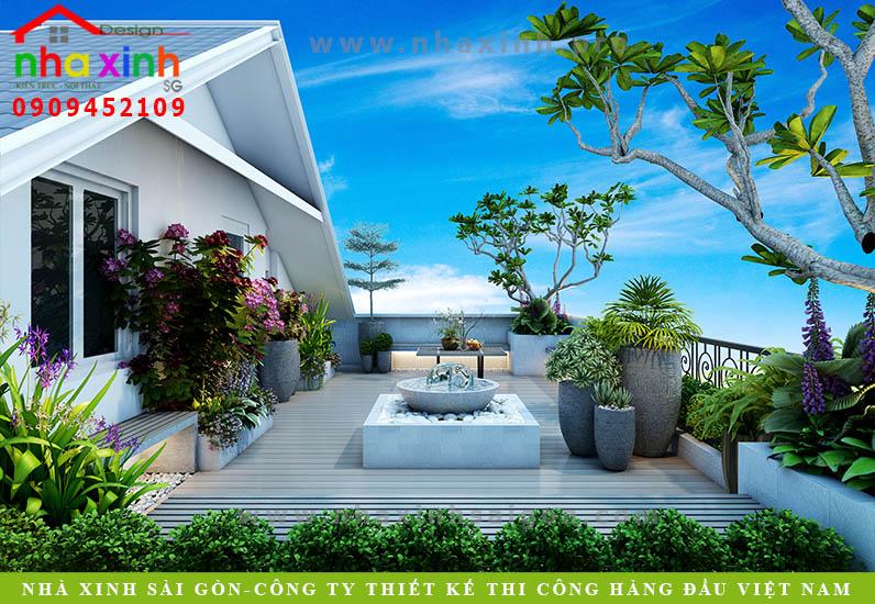 Thiết kế sân thượng biệt thự vườn