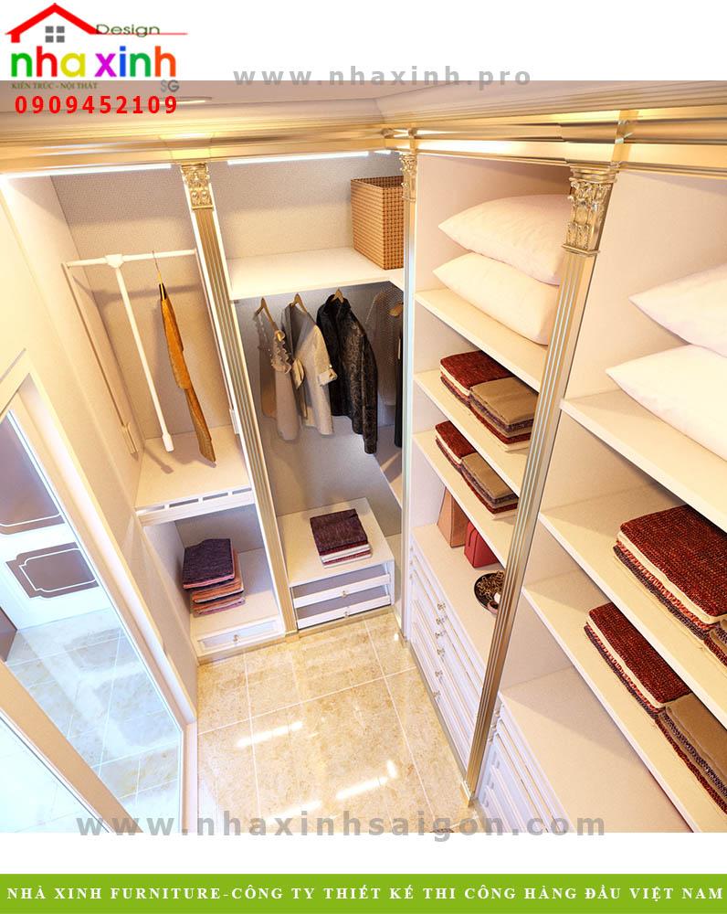 Thiết kế tủ đồ biệt thự phố