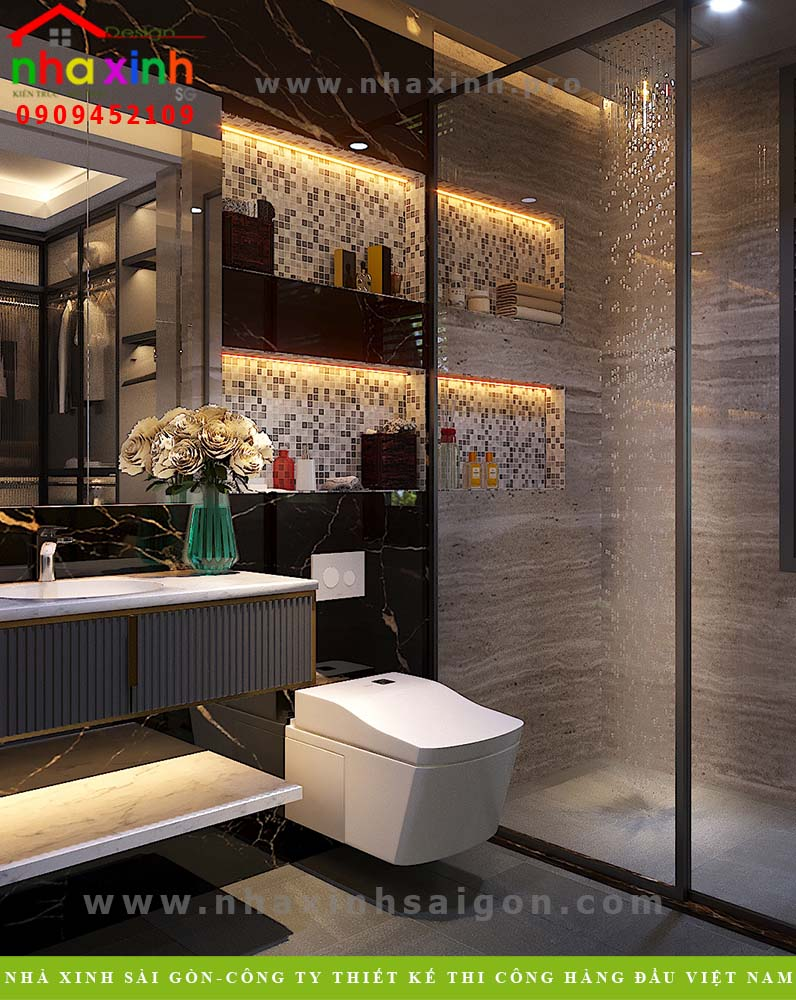 Nội thất phòng tắm biệt thự 3 tầng mái bằng