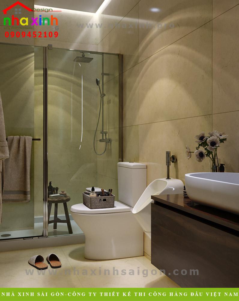 Thiết kế phòng vệ sinh tầng trệt biệt thự 4 tầng