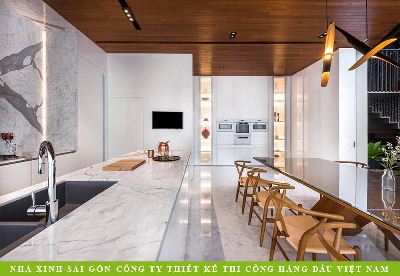 Không gian phòng bếp nhà phố hiện đại