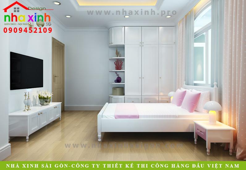 Thiết kế nội thất phòng ngủ của biệt thự tân cổ điển