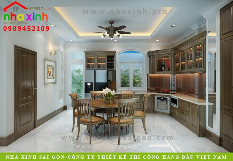 Thiết kế nội thất phòng bếp biệt thự tân cổ điển