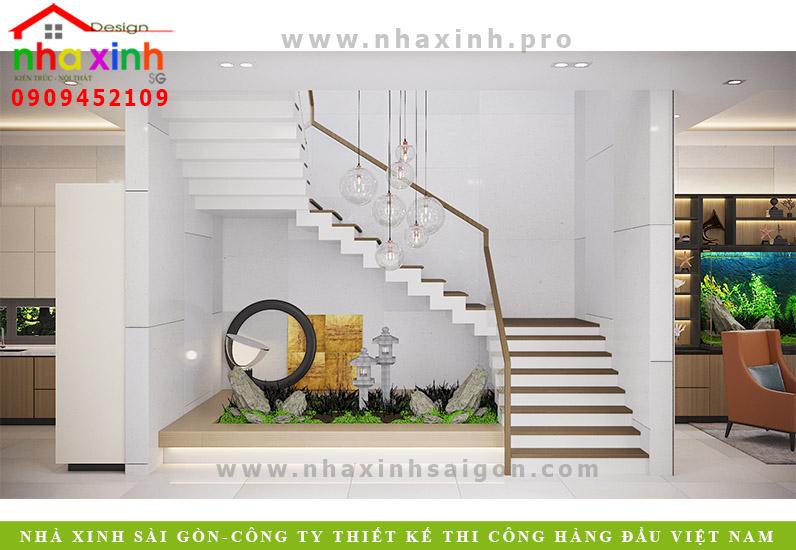 Thiết kế cầu thang biệt thự vườn 3 tầng