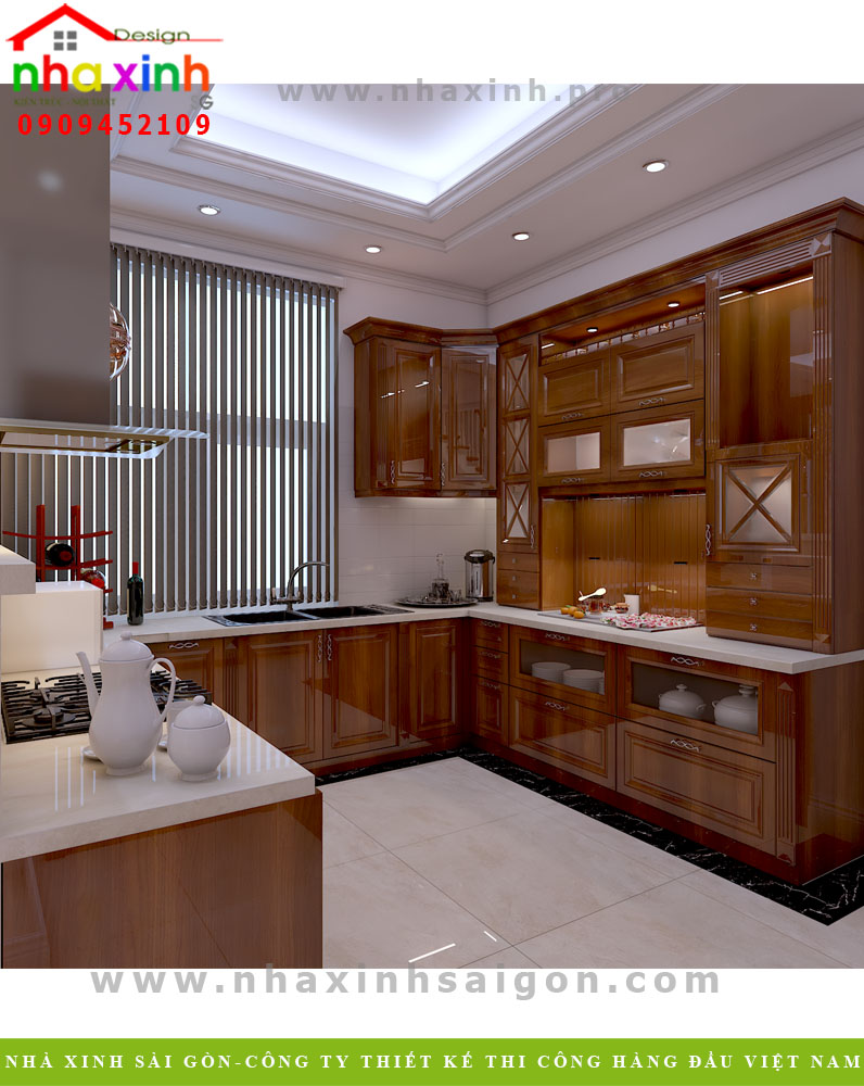 Nội thất phòng bếp của biệt thự hiện đại khu rio vista Quận 9