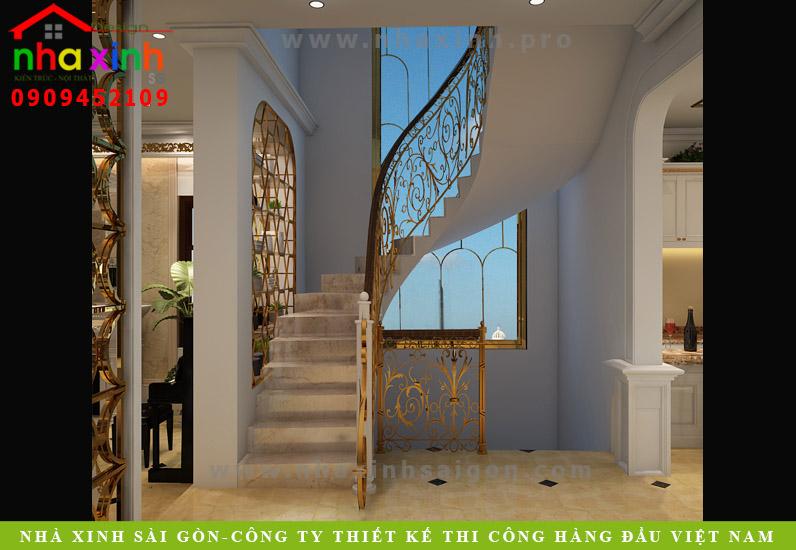 Thiết kế cầu thang biệt thự cổ điển 3 tầng