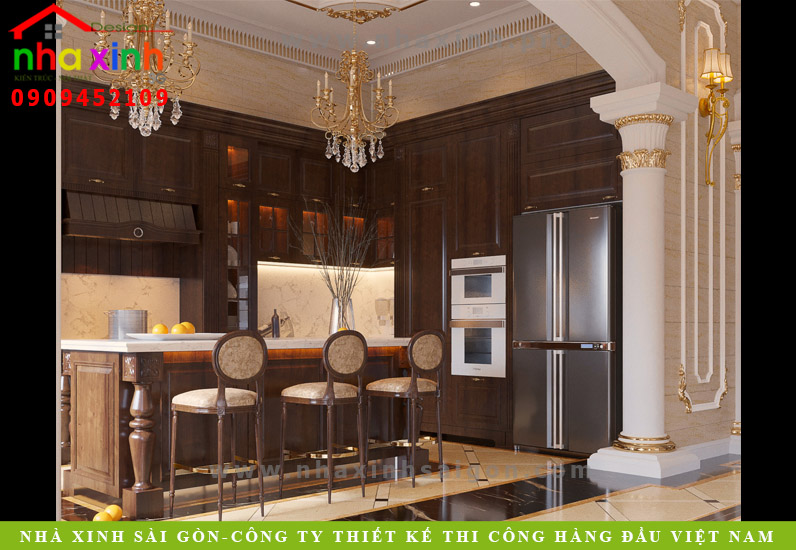Phòng bếp dinh thự phong cách châu âu