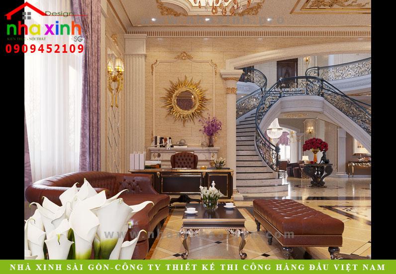 Phòng khách dinh thự phong cách châu âu