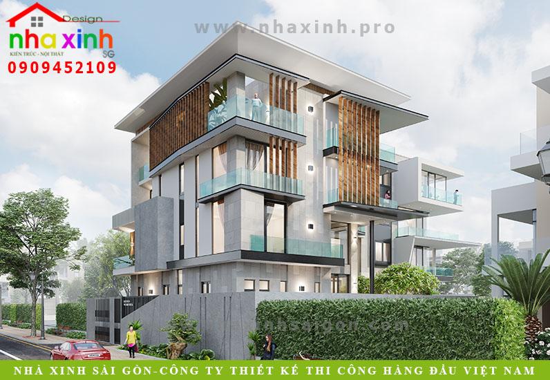 Dự án thiết kế biệt thự hiện đại mái dốc của Nhà Xinh