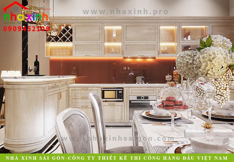 Thiết kế nội thất phòng bếp nhà phố cổ điển