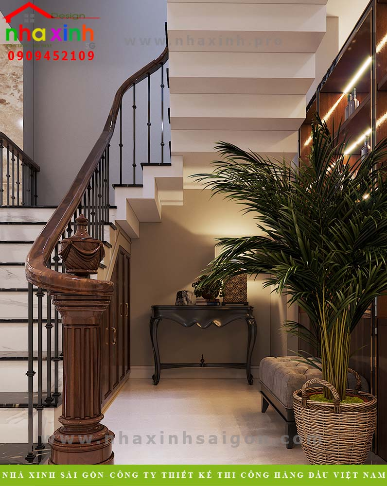 Thiết kế cầu thang nhà phố cổ điển