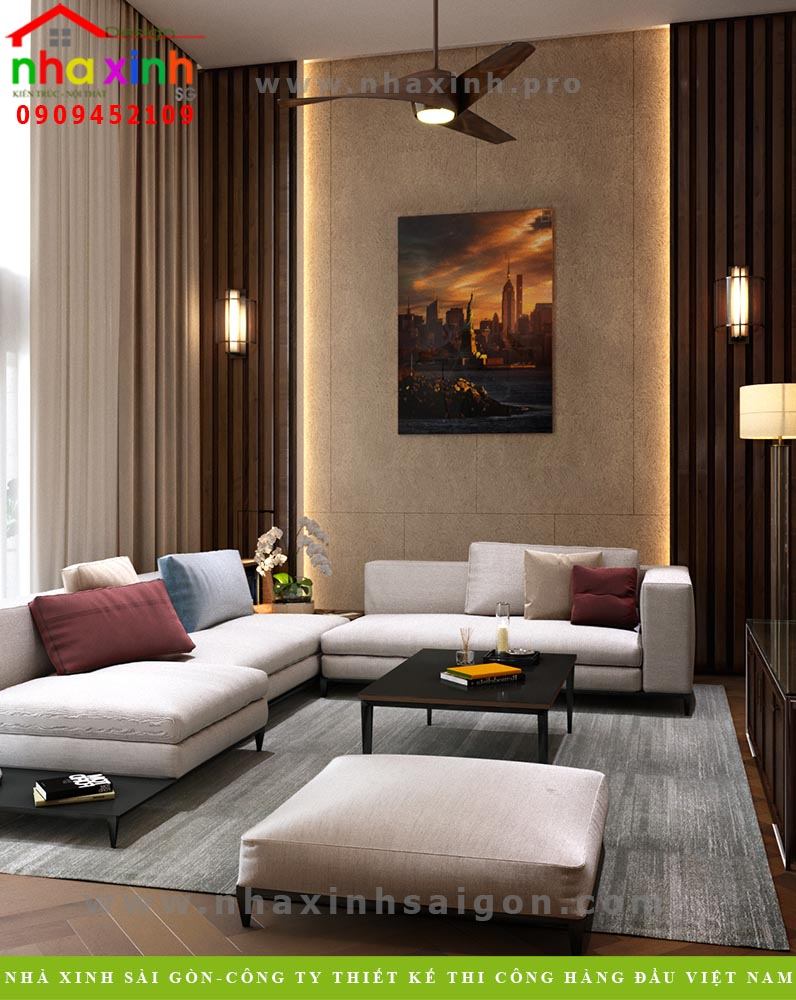 Thiết kế nội thất phòng khách tầng 1