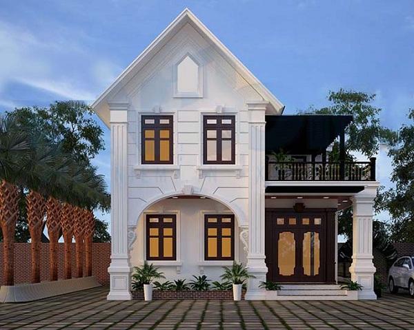 Biệt thự mini 2 tầng phong cách cổ điển